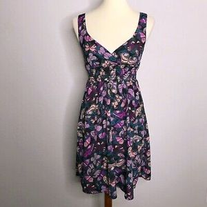 H&M Purple Butterfly Print V-Neck Sun Dress
